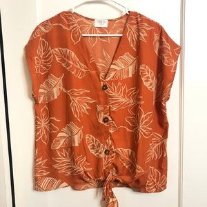 Orange Tropical Button Up Tied Shirt